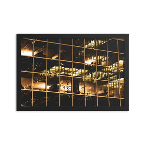 Golden reflections of lights and office building glass at night in Ottawa, Canada.  Framed Prints | ZNA Creative
