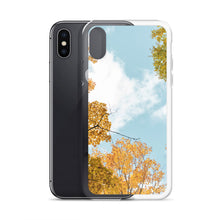 Load image into Gallery viewer, Fall treetops against a blue sky.  iPhone cases including iPhone X.  This photo was taken in Gatineau Park, in Gatineau, Quebec; just outside of Ottawa, Canada.