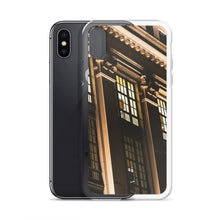 Load image into Gallery viewer, Concrete pillars, lit up at night in Ottawa, Canada can be seen on this street photography iPhone case.  Architectural style iPhone cases