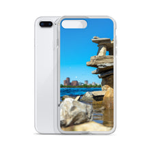 Load image into Gallery viewer, Balancing rocks along the Ottawa River, picturing the Gatineau government buildings in the background, can be seen on this durable and stylish iPhone case.  Ottawa iPhone cases, Canada iPhone Cases