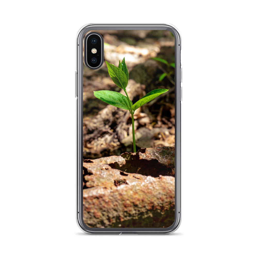 A small green and new sprout can be seen growing through some debris and dirt on the ground.  iPhone cases for nature and plant lovers.  Earth day iPhone case