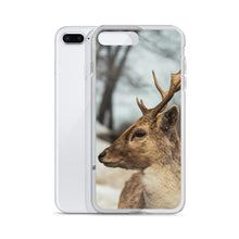 Load image into Gallery viewer, An iPhone Case with a winter woodland animal, a deer, printed on the front.  The deers large antlers jet upwards from the side profile of the deer.  Canadian themed iPhone Cases.