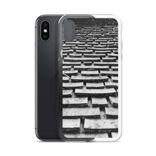 Load image into Gallery viewer, A black and white iPhone case with a graphic of wood shingles, cascading up a roof.