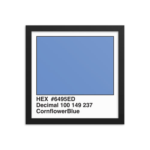 12x12 CornflowerBlue HEX print #6495ED.  Artwork and decor for designers and developers.  Great for any workplace or home office.