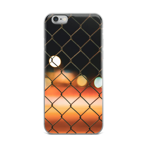 iPhone Case with chainlink fence design, soft, long exposure, bokeh colours shown in the background