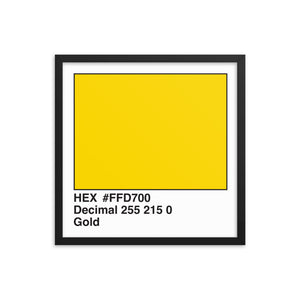 18x18 Gold HEX print #FFD700.  Artwork and decor for designers and developers.  Great for any workplace or home office.