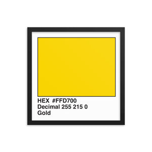 16x16 Gold HEX print #FFD700.  Artwork and decor for designers and developers.  Great for any workplace or home office.
