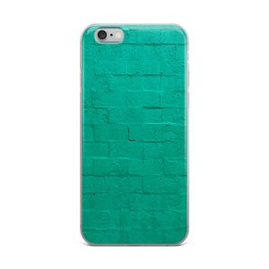A cement block wall, painted with vibrant teal paint is pictured on this durable, stylish iPhone case.  Popular brick wall teal iPhone cases