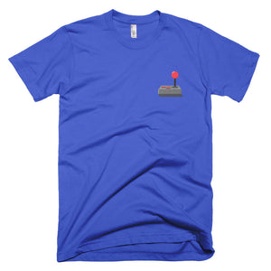 Retro joystick tee shirt with graphic on upper left