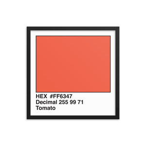 18x18 Tomato HEX print #FF6347.  Artwork and decor for designers and developers.  Great for any workplace or home office.