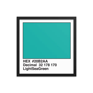 16x16 LightSeaGreen HEX print #20B2AA.  Artwork and decor for designers and developers.  Great for any workplace or home office.