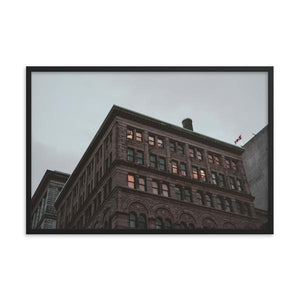 Old historical building in Montreal with spooky feel cast against an overcast clouded background.  Framed fine art prints 12x18 - ZNA Creative