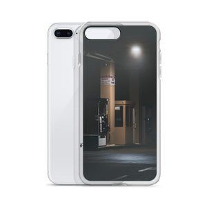 Creative iPhone case with eerie, abandoned gas pump, with light cast down from a single illumination.  This photo was taken at a Costco gas station, on a moody foggy morning at about 3am.