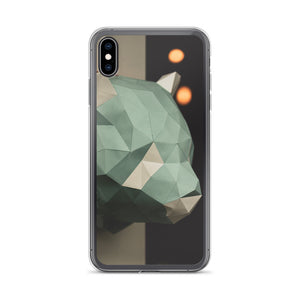 Stylish iPhone case with geometric cardboard animal against a dark black background with bokeh lights.  Popular iPhone cases made in USA.
