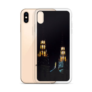 An iPhone case featuring to tall church spires of the Notre-Dame Cathedral in Ottawa, Gatineau.  Ottawa, Canada iPhone Cases.  Sleek new iPhone X smartphone cases