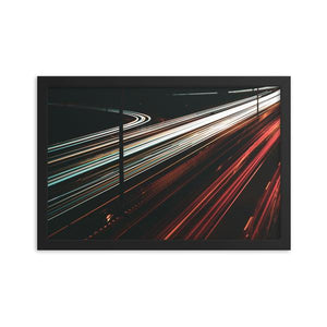 White and red light trails span across the 417 highway in Ottawa, Canada.  This long exposure photograph is shown printed 12x18 inches, with a black alder frame.  Original artwork from ZNA Creative, Framed Prints perfect for any home or office decor