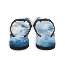 Load image into Gallery viewer, Creative and bright watercolour flip flops.  The light, and airy blue watercolour appearance keeps these flip flops looking fresh on and off your feet.