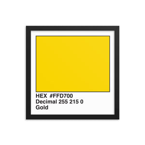 14x14 Gold HEX print #FFD700.  Artwork and decor for designers and developers.  Great for any workplace or home office.