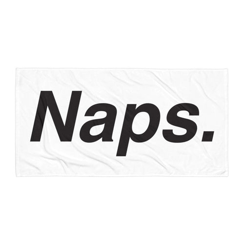 Naps. Large Print White Beach Towel