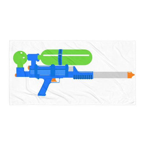 Retro 80s throwback watergun design on large beach towel.  Supersoaker beach towels.  ZNA Creative