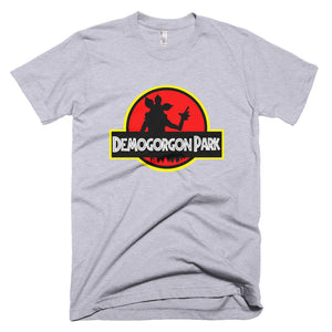 Custom made t-shirt heather grey.  Jurassic Park feel with a Stranger Things twist.