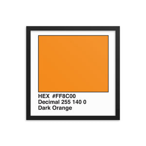16x16 DarkOrange HEX print #FF8C00.  Artwork and decor for designers and developers.  Great for any workplace or home office.