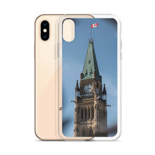 Load image into Gallery viewer, An iPhone Case with a print of The Peace Tower of Canada's Parliament, in Ottawa, Ontario.  A light blue sky with wisps of cloud can be seen in the background behind the gothic style tower.  The decorative wrought iron gates can be seen in the foreground, framing the tower and Canadian flag.  Ottawa, Canada iPhone Cases