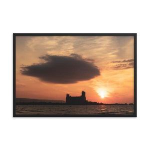 Large dark cloud looming over Collingwood Terminals during golden red sunset on Georgian Bay.  Framed sunset art prints 12x18 - ZNA Creative