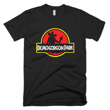 Load image into Gallery viewer, Custom made t-shirt black.  Jurassic Park feel with a Stranger Things twist.