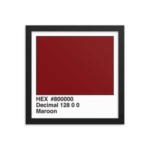 12x12 Maroon HEX print #800000.  Artwork and decor for designers and developers.  Great for any workplace or home office.