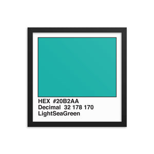 14x14 LightSeaGreen HEX print #20B2AA.  Artwork and decor for designers and developers.  Great for any workplace or home office.