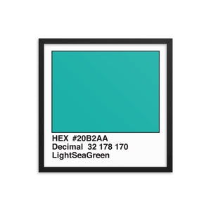 18x18 LightSeaGreen HEX print #20B2AA.  Artwork and decor for designers and developers.  Great for any workplace or home office.