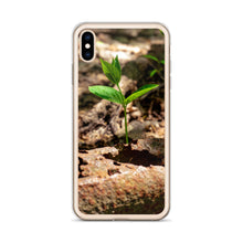 Load image into Gallery viewer, A small green and new sprout can be seen growing through some debris and dirt on the ground.  iPhone cases for nature and plant lovers.  Earth day iPhone case
