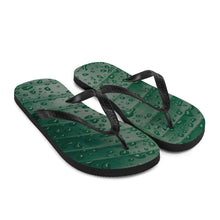 Load image into Gallery viewer, Beautiful and calming water droplets pictured across a green, forest leaf.  The black Y strap contrasts against the green leaf flip flop print perfectly.  Express yourself!