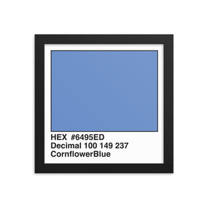 10x10 CornflowerBlue HEX print #6495ED.  Artwork and decor for designers and developers.  Great for any workplace or home office.