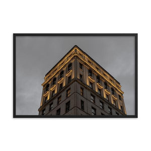 Warmly lit historical building in Montreal against dark gloomy night sky.  Framed fine art prints 12x18 - ZNA Creative