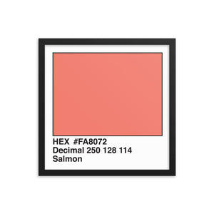 16x16 Salmon HEX print #FA8072.  Artwork and decor for designers and developers.  Great for any workplace or home office.