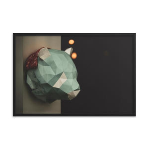 Fine Art Photography Print.  A photograph of a geometric cardboard animal, resembling a bear.  The background is matte black, with soft bokeh lights in the distance.  Great for any home or office.  ZNA Creative