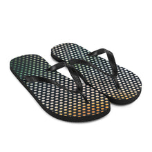 Load image into Gallery viewer, Creative and colourful, yet subtle window film graphic design printed on the sole of these popular beach sandal flip flops