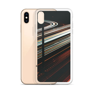 Custom design iPhone case. White and red light trails span across the 417 highway in Ottawa, Canada  Original long exposure photography artwork from ZNA Creative, iPhone cases perfect for any occasion.