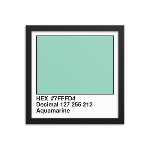 12x12 Aquamarine HEX print #7FFFD4.  Artwork and decor for designers and developers.  Great for any workplace or home office.