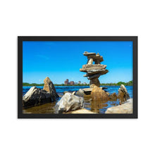 Load image into Gallery viewer, Artistic rock pilings on the Ottawa River with Gatineau in the background on a sunny day with a blue sky.  Framed Art Prints