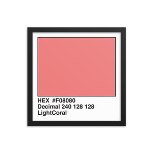 14x14 LightCoral HEX print #F08080.  Artwork and decor for designers and developers.  Great for any workplace or home office.