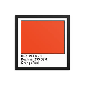 16x16 OrangeRed HEX print #FF4500.  Artwork and decor for designers and developers.  Great for any workplace or home office.