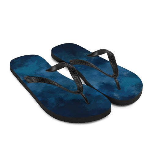 Blue watercolour paint style flipflops with Y buckle, and soft fabric lining to help keep you cool and comfortable.  Perfect summer gift for the artist on your list