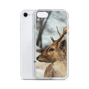 An iPhone Case with a winter woodland animal, a deer, printed on the front.  The deers large antlers jet upwards from the side profile of the deer.  Canadian themed iPhone Cases.