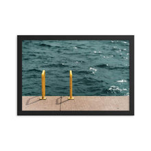 Load image into Gallery viewer, A framed art print of a pier. A yellow ladder runs from the concrete of the pier into the deep blue waters of Georgian Bay's Collingwood Harbour