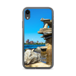 Balancing rocks along the Ottawa River, picturing the Gatineau government buildings in the background, can be seen on this durable and stylish iPhone case.  Ottawa iPhone cases, Canada iPhone Cases