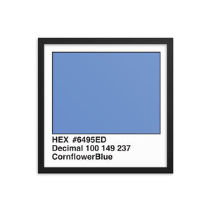 16x16 CornflowerBlue HEX print #6495ED.  Artwork and decor for designers and developers.  Great for any workplace or home office.