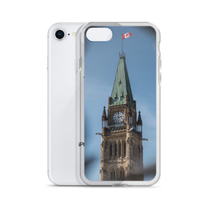 An iPhone Case with a print of The Peace Tower of Canada's Parliament, in Ottawa, Ontario.  A light blue sky with wisps of cloud can be seen in the background behind the gothic style tower.  The decorative wrought iron gates can be seen in the foreground, framing the tower and Canadian flag.  Ottawa, Canada iPhone Cases